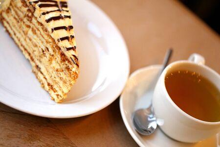 Photo macro of a delicious sweet piece of dessert in a restaurant Archivio Fotografico - 133297185