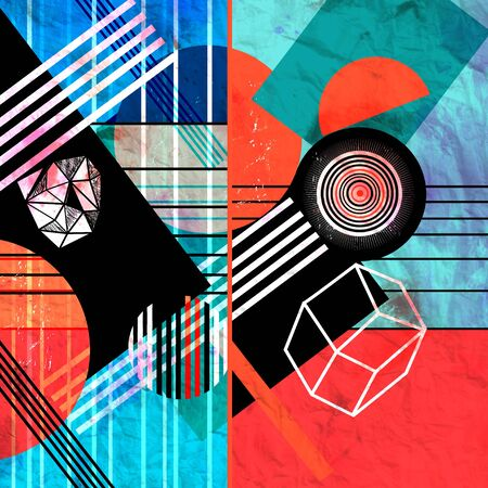 Abstract watercolor background with geometric color objects and interesting shapes Stockfoto