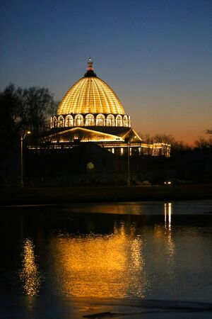 Beautiful photo of the Cosmos pavilion in Moscow in the evening