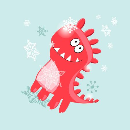 Christmas vector card cheerful dinosaur on a blue background with snowflakes