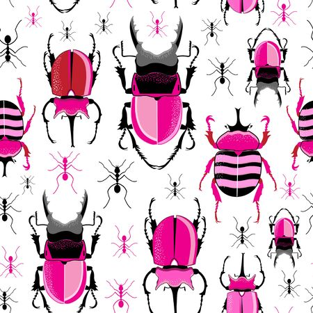 Vector bright seamless pattern with beetles and ants on a white background Foto de archivo - 137412809