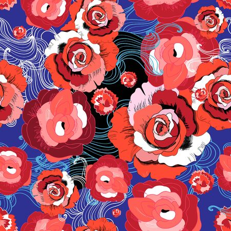 Vector bright pattern of red roses on a blue background