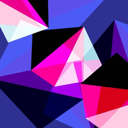 Abstract bright geometric background with different objects and shapes Çizim