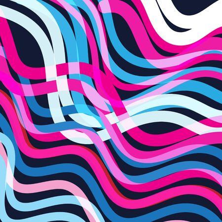 Abstract bright geometric background with different waves and shapes Çizim
