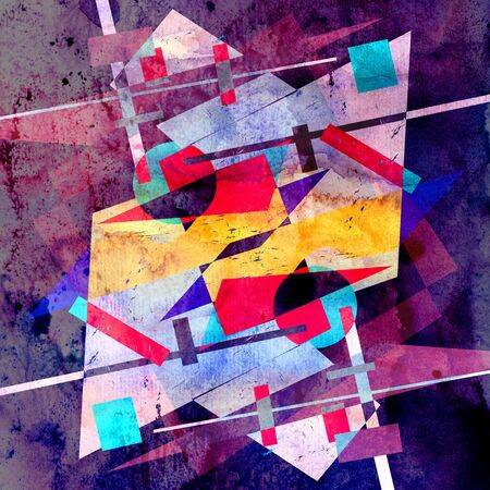 Watercolor abstract colorful background with geometry elements. Background for design template. Фото со стока