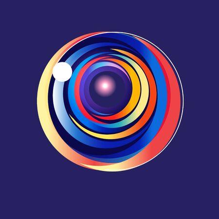 Schönes Vektor mehrfarbiges abstraktes rundes Element auf blauem Hintergrund