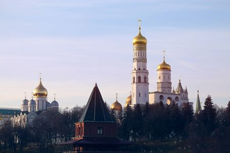 Beautiful photo of views of the Moscow Kremlin Temples on a Sunny day