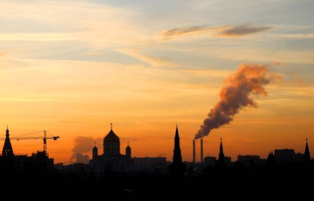 Beautiful photo of a sunset in the famous Moscow Kremlin on a winter day Imagens