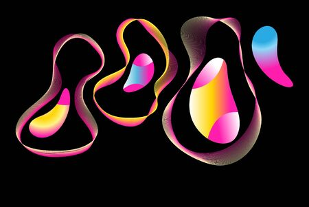 Unusual abstract shapes from different waves and shapes. Design of a web page or poster.