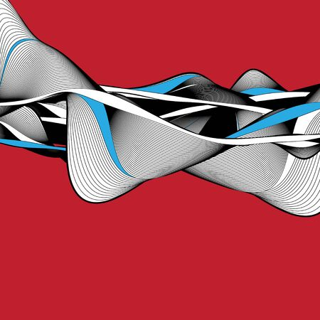 Abstract modern vector background with wavy linear elements. Example for poster or web page. 向量圖像