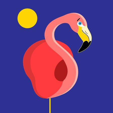 Bright red Flamingo vector on dark blue background
