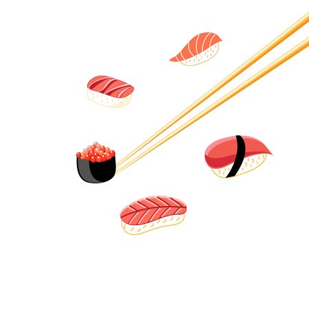 Illustration of a delicious sushi background on a white background.