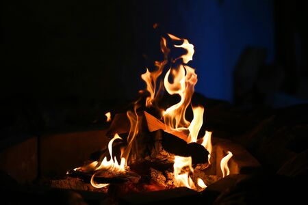 Photo macro of fire flames in the evening