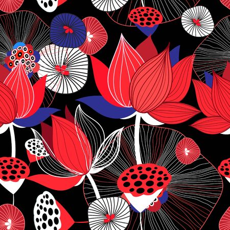 Seamless bright floral background with red lotuses and leaves on dark background 向量圖像