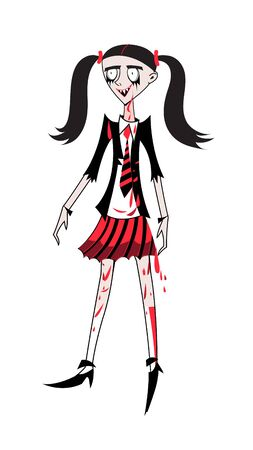 Vector graphics girl schoolgirl zombie on a white background. A character for Halloween. Illustration