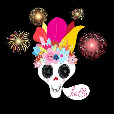 Bright vector illustration multicolored with a bouquet of skulls on a dark background for Halloween