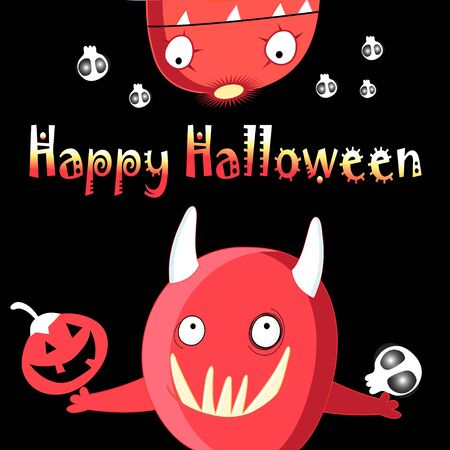 Bright vector illustration of monsters funny for Halloween 向量圖像