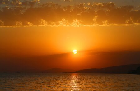Beautiful photo of the sea landscape in the evening at sunset