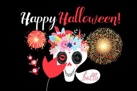 Vector postcard with monsters and a skull for Halloween on a dark background Illusztráció
