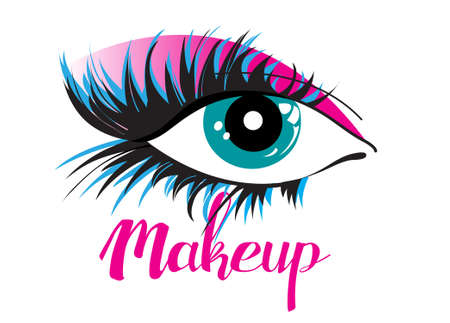 Vector icon of a beautiful eye isolated on a white background. Example of makeup for a beauty salon. Ilustração
