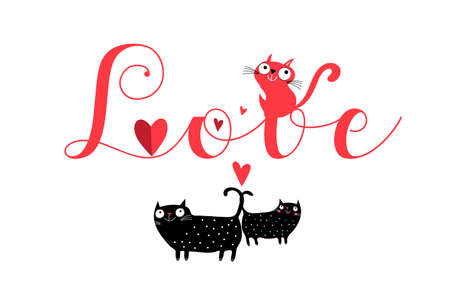 Vector love inscription with cats and hearts on a white background. Valentine's day greeting card Stock Illustratie