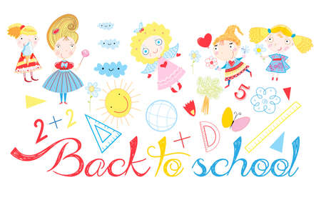 Vector background back to school with a set of school subjects and girls on a white background