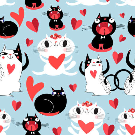 Funny seamless bright festive pattern of lovers of cats Ilustração
