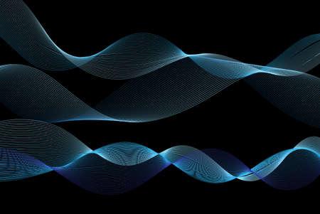 Vivid illustration of blue line waves