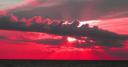 Photo of a beautiful sunset on the sea Banco de Imagens