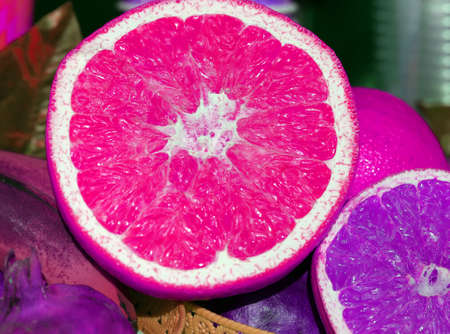 Photo of a bright grapefruit close-up