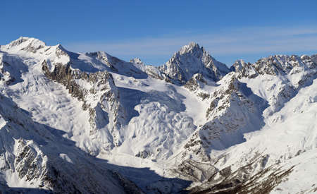 Photos of the beautiful mountains, snow-covered landscape