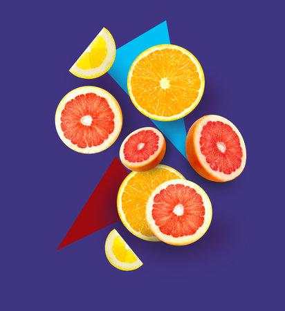 Photo macro set of bright fruits oranges and grapefruit