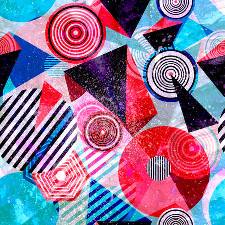 Bright multi-colored retro watercolor backgrounds with geometric shapes Banco de Imagens