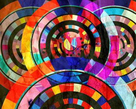 Abstract retro watercolor color background with geometric objects Banco de Imagens