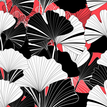 Beautiful graphic patterns are seamless with ginkgo leaf