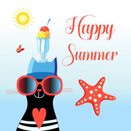 Happy cat with happy summer glasses Ilustração