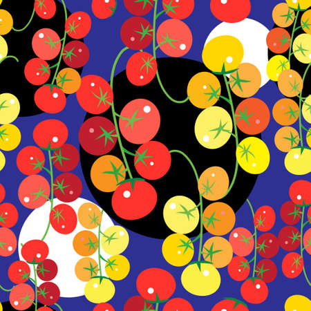 Seamless bright pattern with tomatoes and vegetables