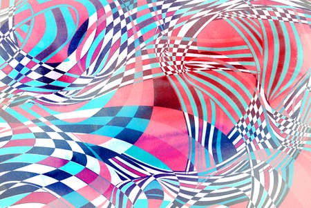 Watercolor illustration with graphic linear waves