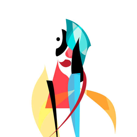 Continuous line woman portrait pictured on an abstract background