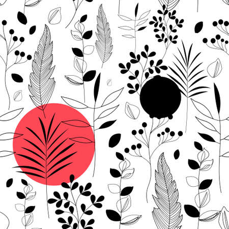Seamless floral pattern of plants and flowers