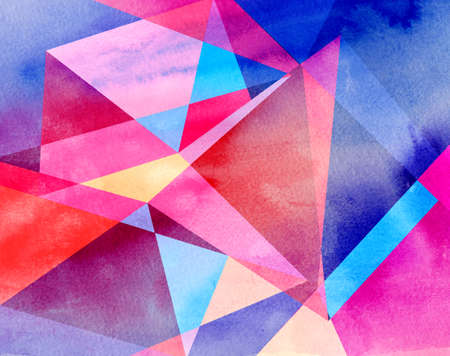 Abstract geometric watercolor retro background