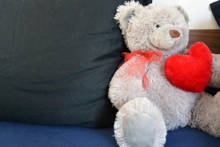 pillows: Teddy bear holding a heart in bed