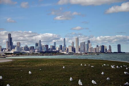 A view of some of Chicago's most iconic buildings with Lake Michigan in the foreground