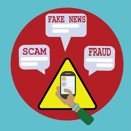 Phishing, scam, fraud via mobile technology isometric vector concept illustration.