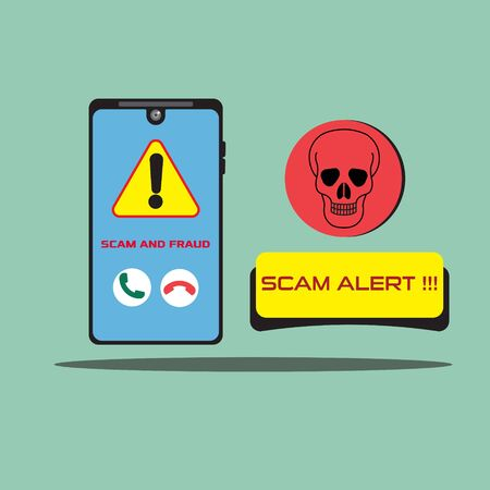 Vector illustration of a smartphone with a warning scam and fraud alert and a skull. Scam, phishing and fraud alert for smartphone user.