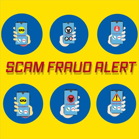 Vector illustration of a smartphone with a warning scam and fraud alert . Scam, phishing and fraud alert for smartphone user.