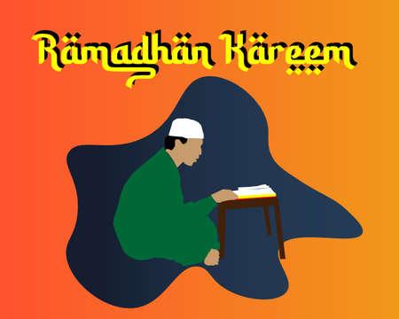Vector Illustration a muslim men reading koran during the holy month of ramadhan.