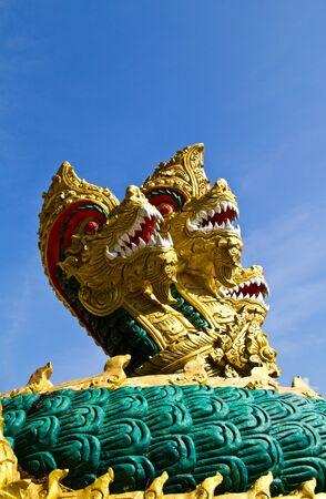 Naga 3 heads at Golden Triangle, Chiangrai, Thailand photo