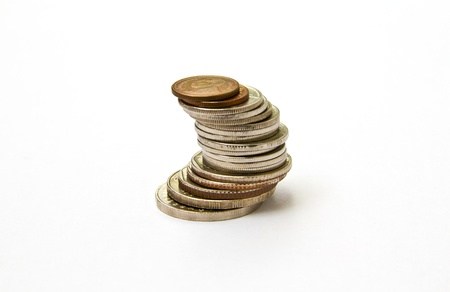 Stack of Thai coins isolated on white background photo