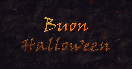 appear: Buon Halloween text in Italian dissolving into dust to bottom